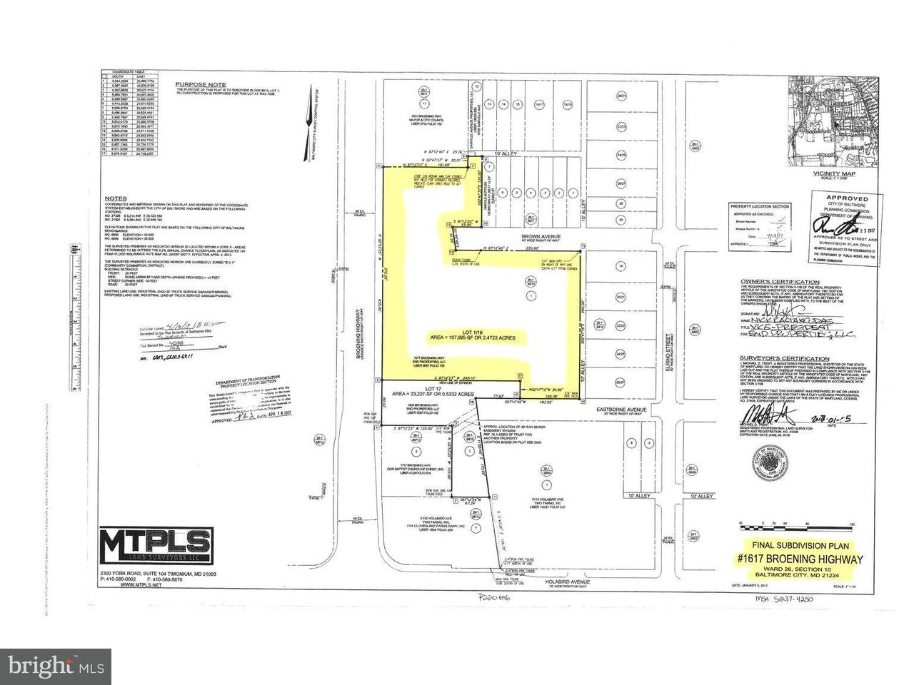 Land for Sale at 1617 Broening Hwy Baltimore, Maryland 21224 United States