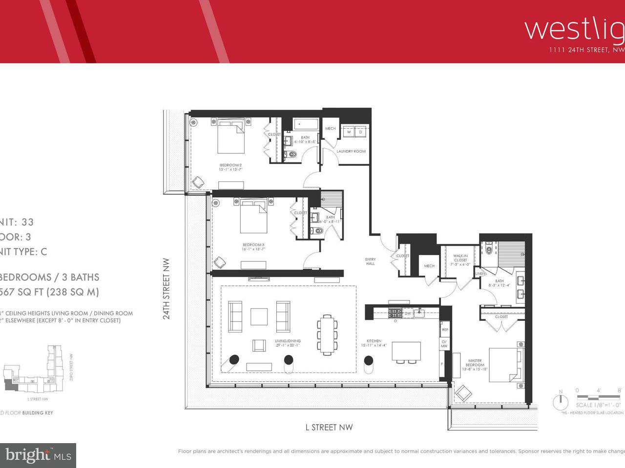 Appartement en copropriété pour l Vente à 1111 24th St Nw #3-C 1111 24th St Nw #3-C Washington, District De Columbia 20037 États-Unis